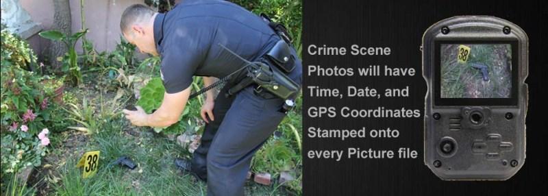Police using body camera to photograph crime scene.