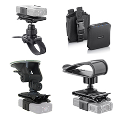 Body Camera accessories.Bicycle mount, windshield mount, visor mount, and battery pack.