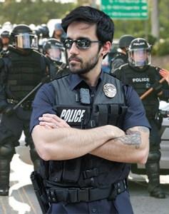 body camera worn by riot police
