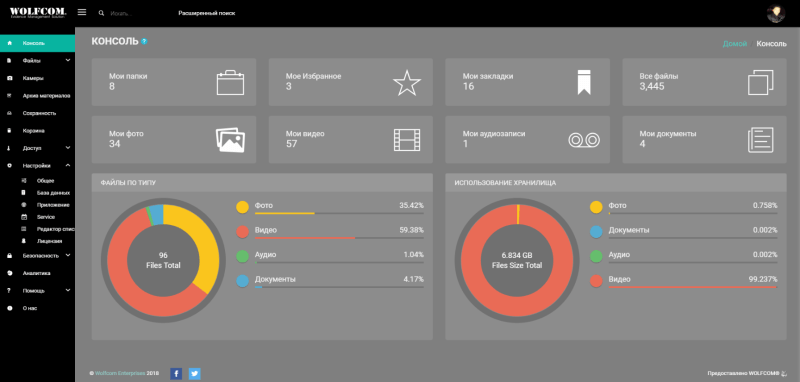 dashboard of the wolfcom evidence management software wems