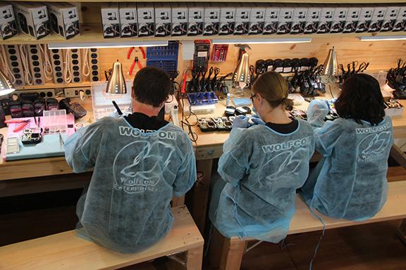 assembly line at the wolfcom facility in pasadena, california