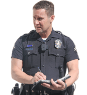 Police officer with body camera writing a ticket.