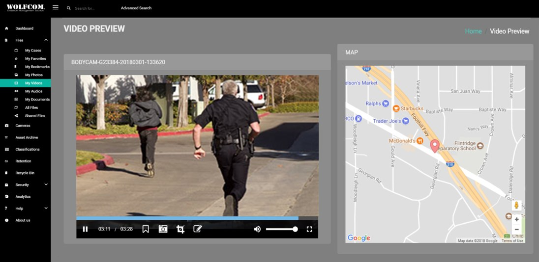 wolfcom cloud evidence management system video playback with GPS geotagging