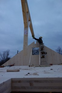 The beam is lowered into position...