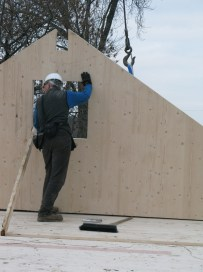 The gable ends are fixed into place