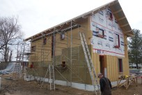On the north side, we had to compensate for the shorfall in top-layer insulation with Roxal and house-wrap