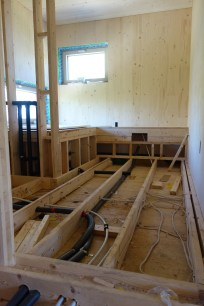 Electrical and plumbing lines in the bathroom