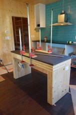 Glueing down the island counter-top