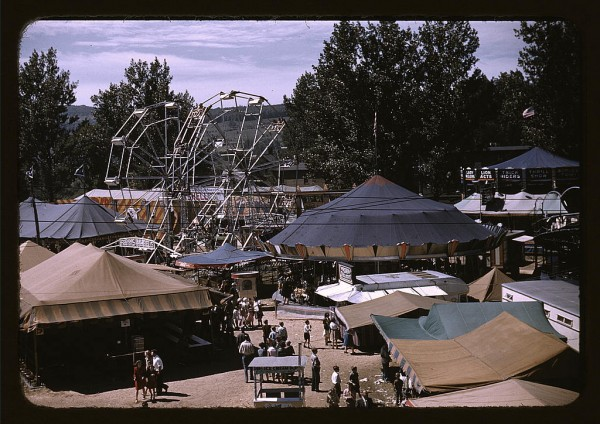 Side shows at the Vermont state fair. Photo by Jack Delano,  from the Library of Congress.  Public Domain.