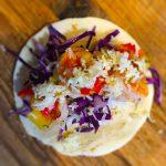 Shrimp tacos with peach salsa
