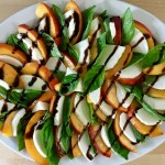 Peach basil caprese salad with balsamic drizzle