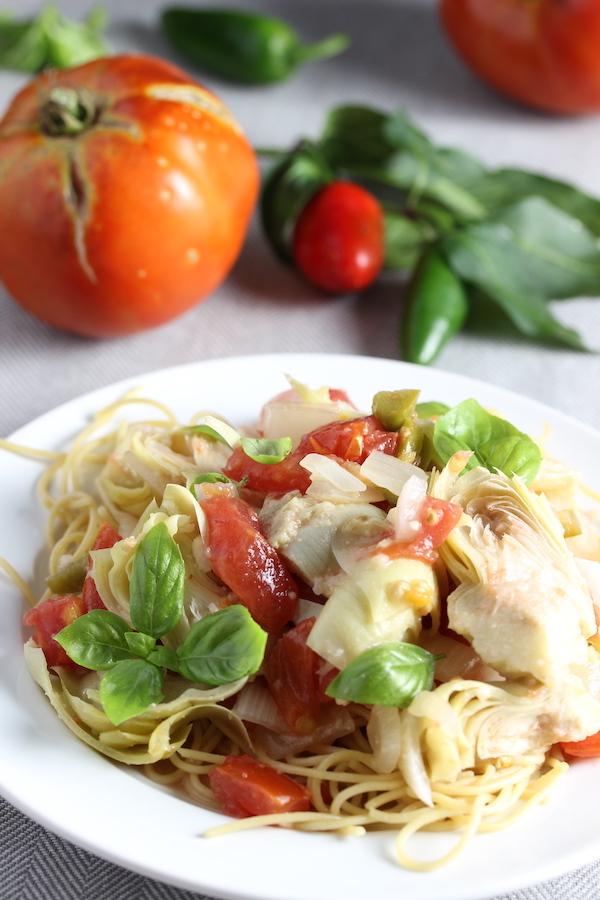 vegan Creamy Artichoke and Tomato Sauce