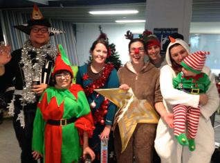 "The ""most festively dressed"" winners at the Christmas party!"