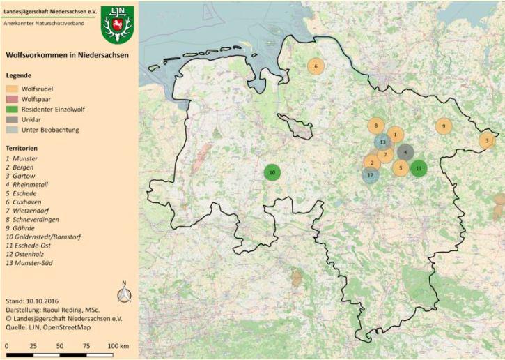 Wolfsvorkommen in Niedersachsen, Stand: 10.10.2016 (Quelle: Landesjägerschaft Niedersachsen, Darstellung: Raoul Reding)