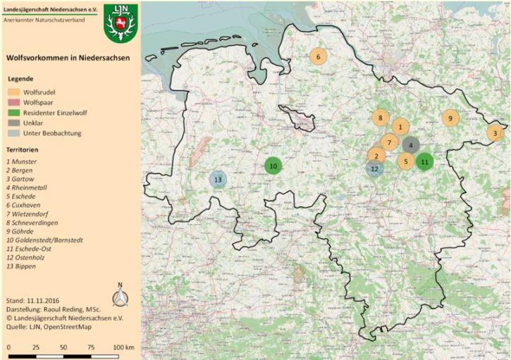 Wolfsvorkommen in Niedersachsen, Stand: 11.11.2016 (Quelle: Landesjägerschaft Niedersachsen, Darstellung: Raoul Reding)