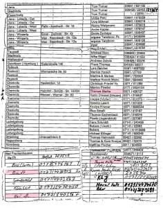 Telefon- und Adressliste des späteren NSU