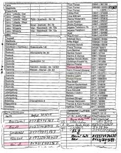 Garagenliste aus Jena 1998