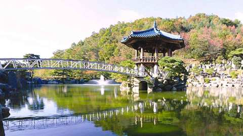 The lake gazebo in Wolmyeongdong during spring