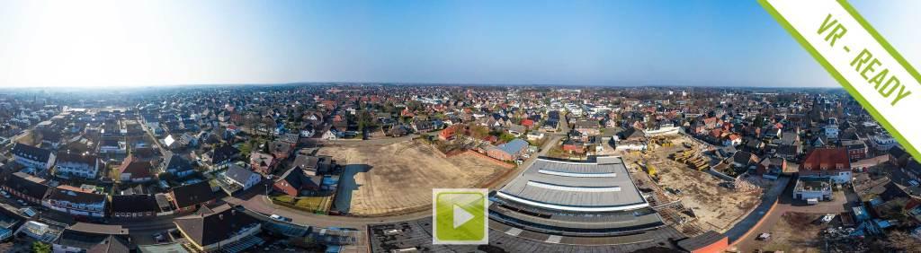 Luftpanorama des Abrisses der Firma LECO an der Lange Straße/Kolpingstr./Stefanstr.