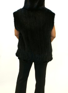 Knitted Ranch Mink Vest W/Hood 012101-3