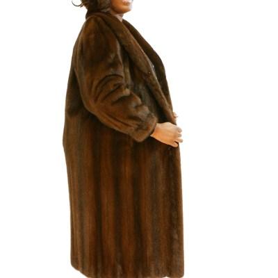 Brown Mink Female Pelt Plus Size Coat 016777