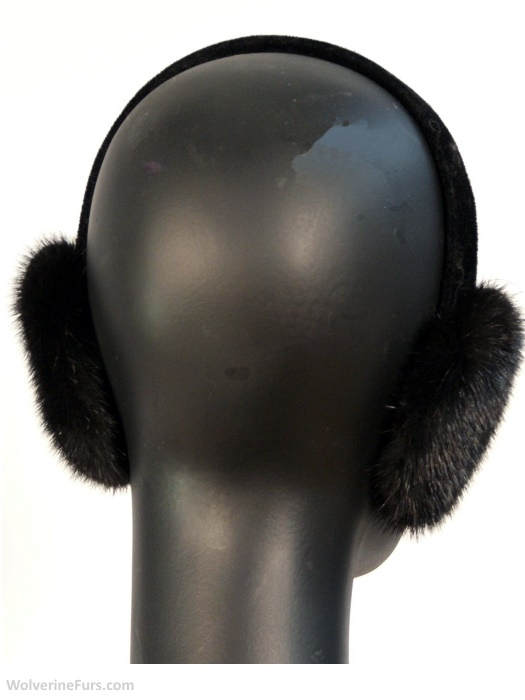 Black, ranch mink ear muffs. One size. Back view.