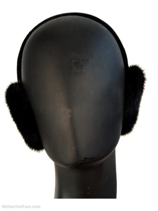 Black, ranch mink ear muffs. One size.Front view.