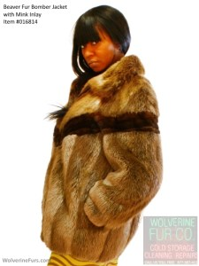 Previously owned women's beaver and mink fur bomber jacket.