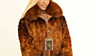 Whiskey Mink Jacket Fox Collar