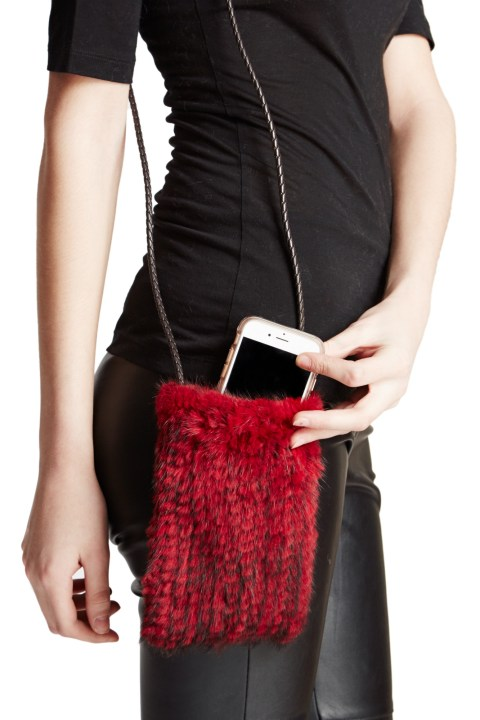 Knitted Mink Cell Pouch-Red