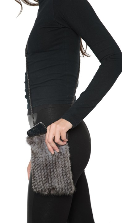 Knitted Mink Cell Pouch-Blue Iris