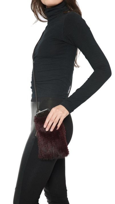Knitted Mink Cell Pouch-Wine