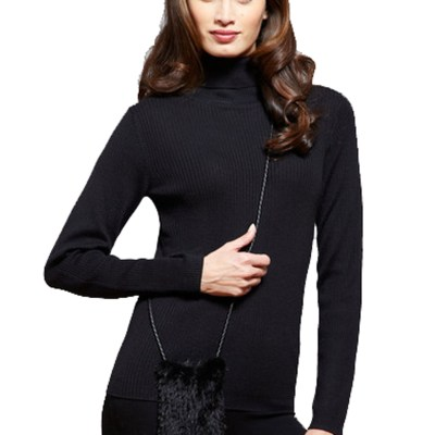 Knitted Mink Cell Pouch-Black