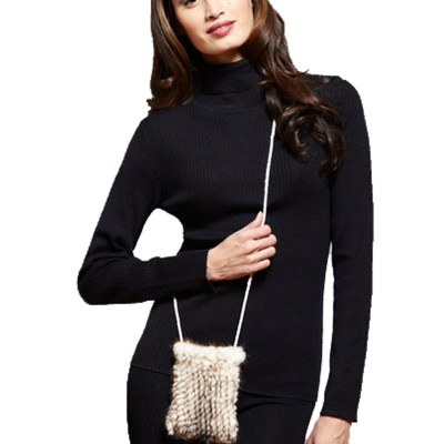 Knitted Mink Cell Pouch-Ivory