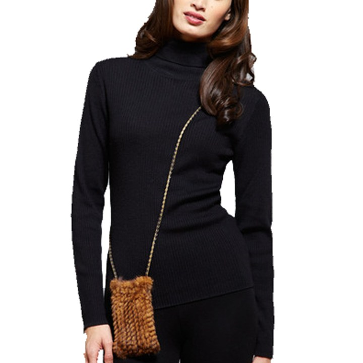 Knitted Mink Cell Pouch-Whiskey