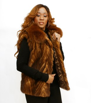 Whiskey Mink Vest Fox Collar