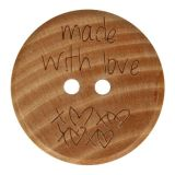 houten knoop made with love 20mm