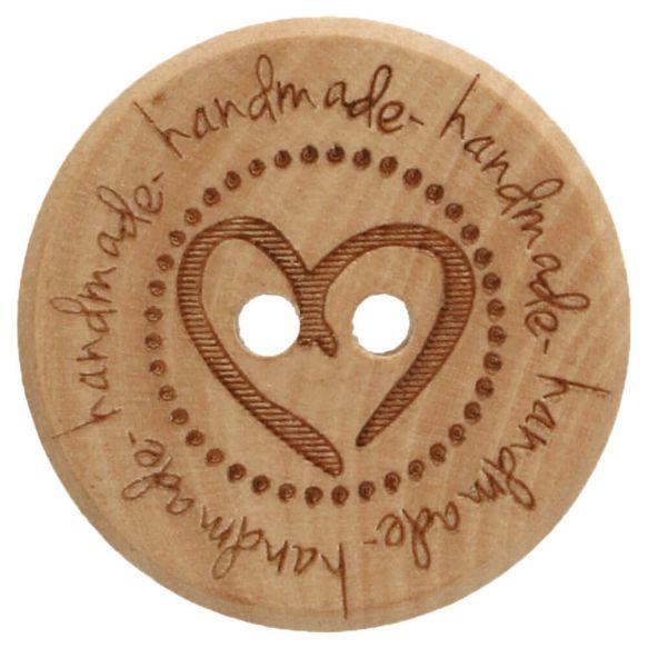 houten knoop met hart 20mm
