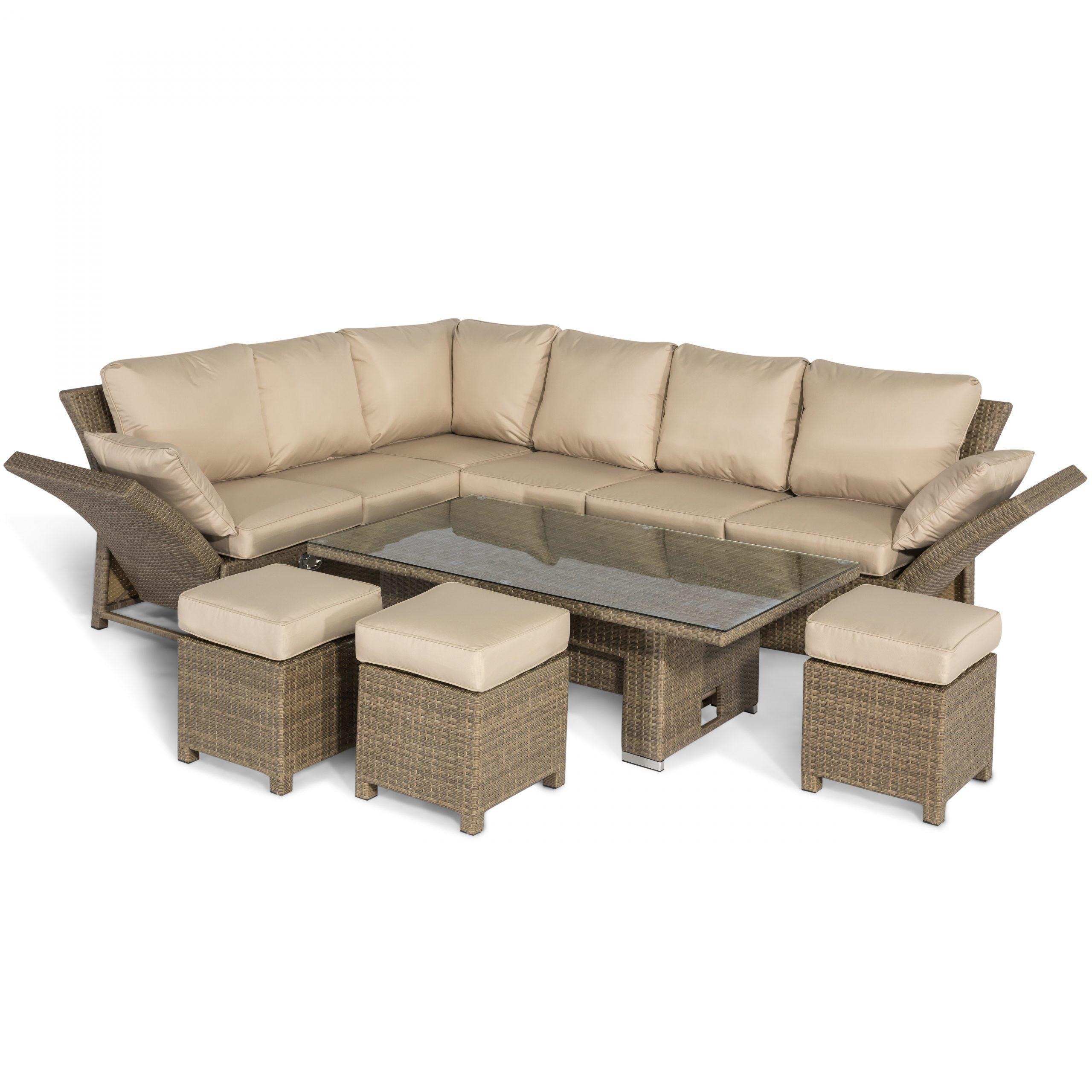 garden corner sofa dining set rising dining table reclining arms light polyweave