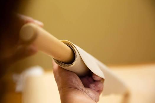 手打ち蕎麦やなかの蕎麦打ち体験の綿棒に巻かれた蕎麦