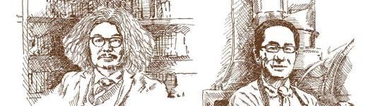梟書茶房を手がけた柳下さんと菅野さんの似顔絵