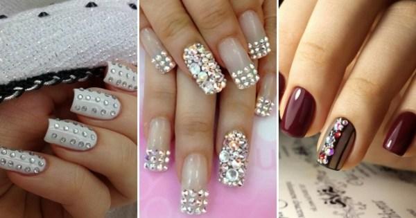 Красивый дизайн ногтей со стразами – простой, френч ...