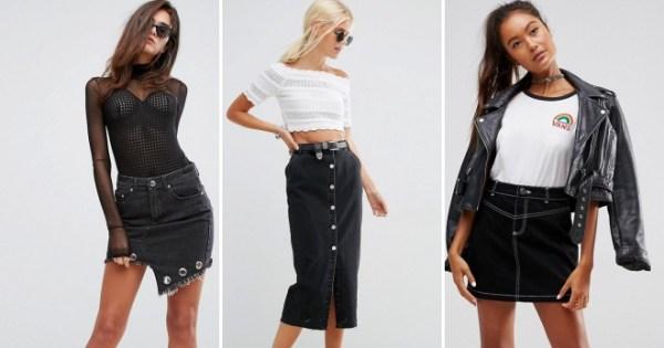 Модная черная джинсовая юбка для девушек – длинная, миди ...