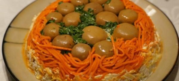 Салат «Полянка» с грибами шампиньонами или опятами ...