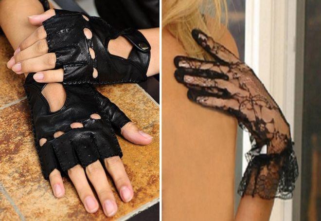 women's black fingerless gloves