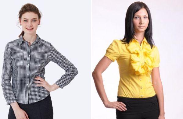 Модные женские рубашки для офиса – с воротником стойкой ...