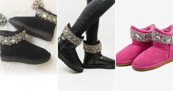 Uggs with rhinestones in a circle