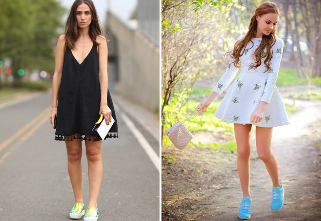 what sneakers to wear with a dress