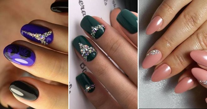Nail design with rhinestones and bouillon everyday