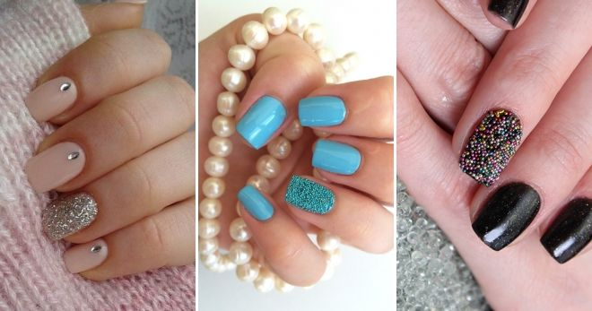 Manicure for short nails with bouillons